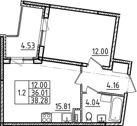 2Е-к.кв, 38.28 м²