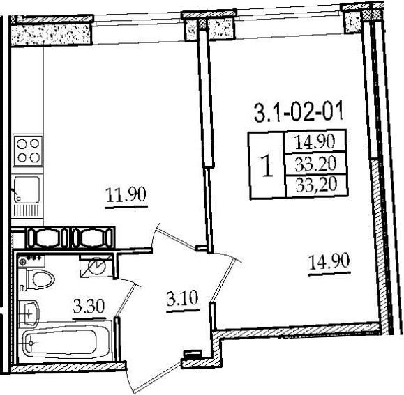 1-к.кв, 33.2 м², 2 этаж