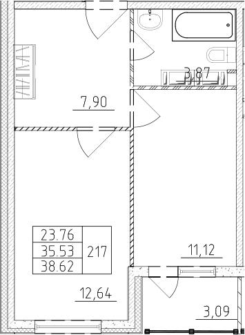 1-комнатная, 37.08 м²– 2
