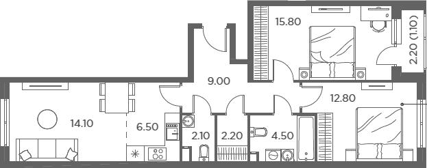 3Е-комнатная, 68.1 м²– 2