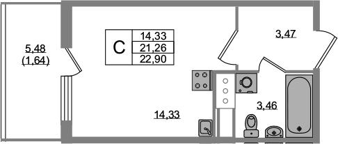Студия, 21.26 м²