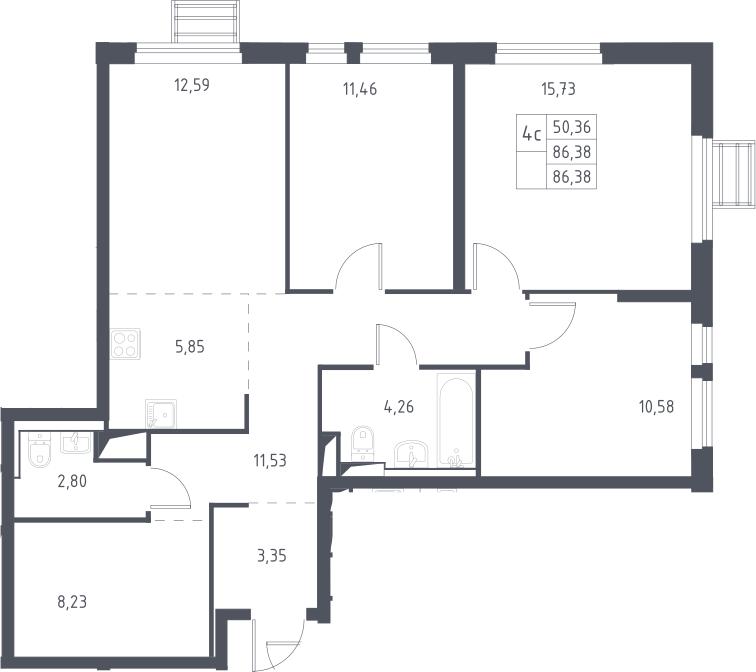 5Е-комнатная, 86.38 м²– 2