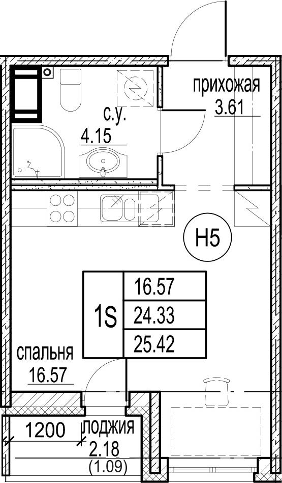 Студия, 26.51 м²