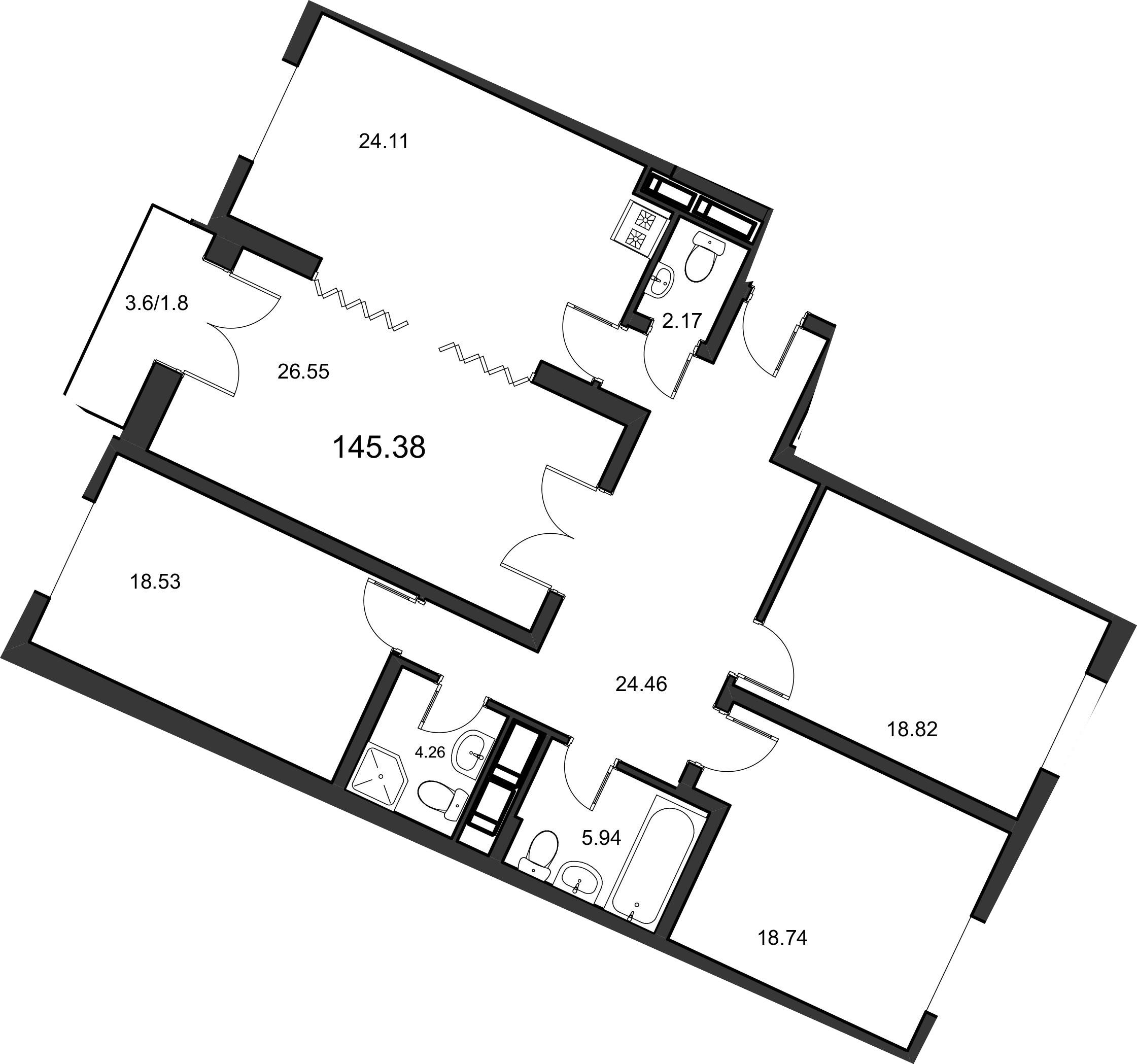 4-к.кв, 147.2 м²