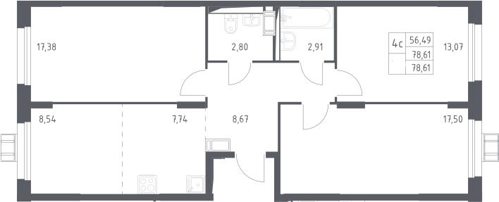 4Е-комнатная, 78.61 м²– 2