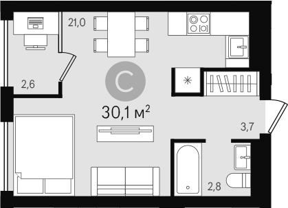 Студия, 30.1 м²