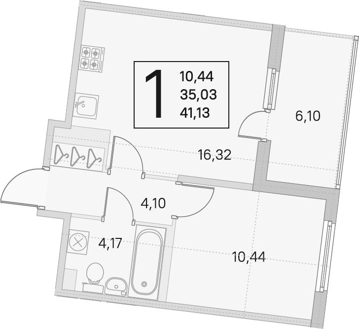 2Е-комнатная, 35.03 м²– 2
