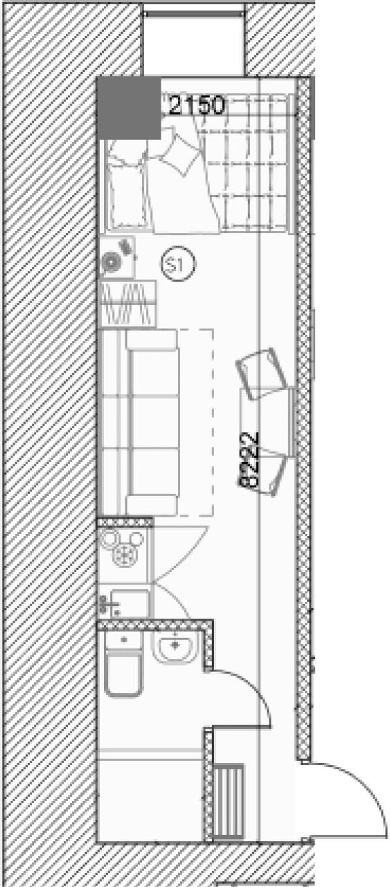 Свободная планировка, 17.38 м²– 2