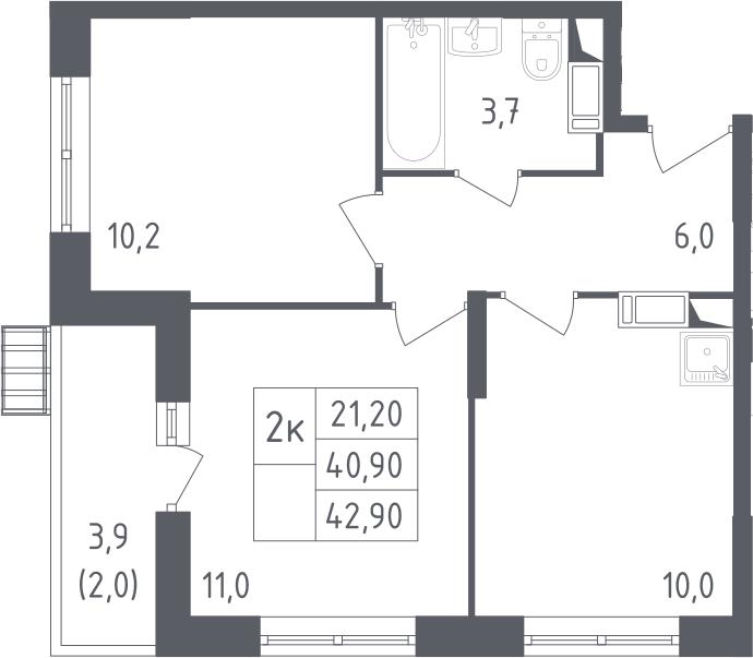 2-к.кв, 42.9 м²