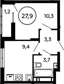 1-комнатная, 27.9 м²– 2