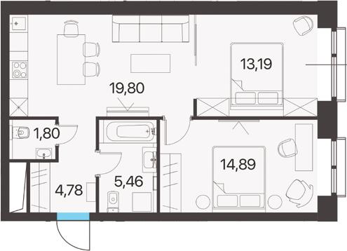 2-комнатная, 59.92 м²– 2