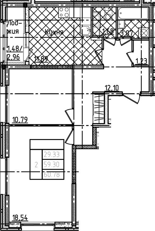 2-к.кв, 60.78 м²