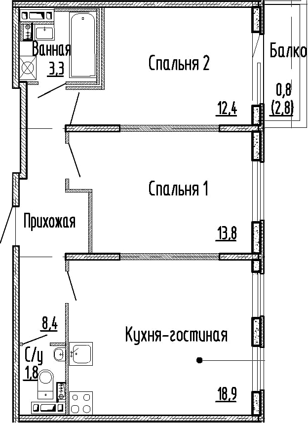 3Е-комнатная, 58.6 м²– 2