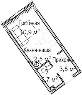 Студия, 19.6 м²