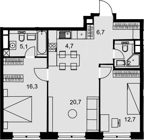 3Е-к.кв, 69.4 м², 16 этаж