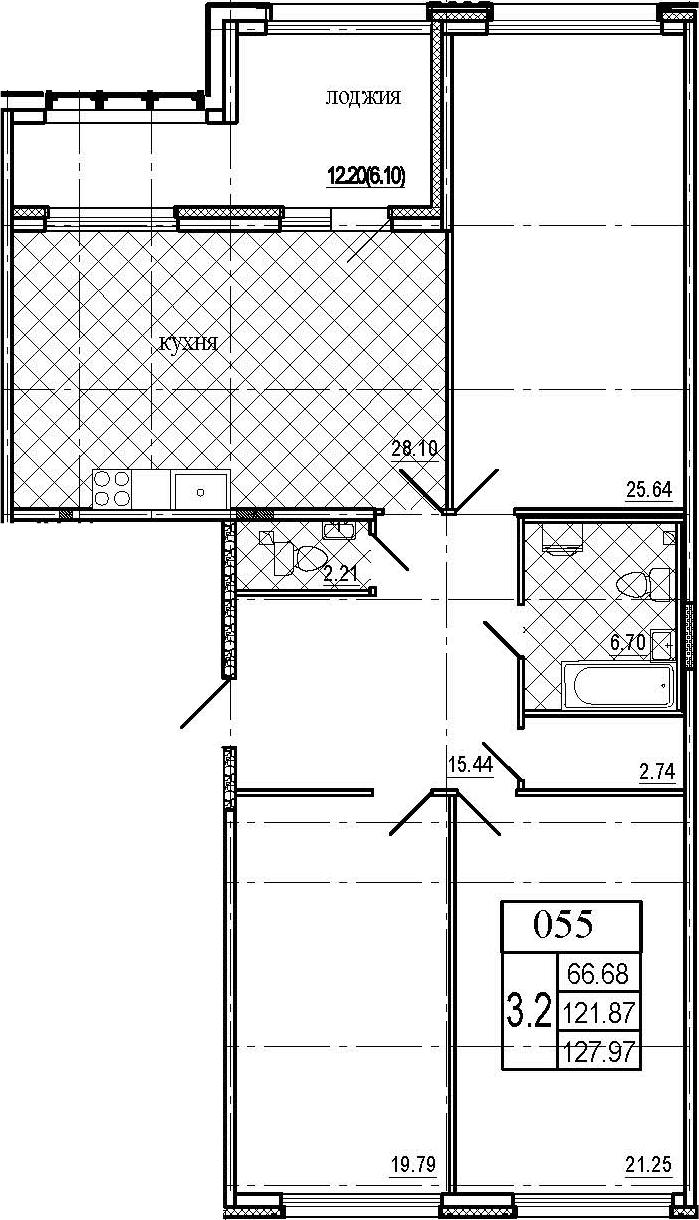 4Е-комнатная, 127.97 м²– 2
