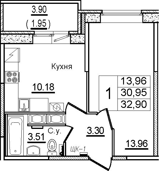1-к.кв, 32.9 м², 11 этаж