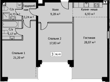3Е-комнатная, 96.45 м²– 2