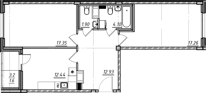 2-комнатная, 67.58 м²– 2