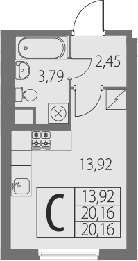 Студия, 20.16 м²