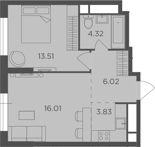 2-к.кв (евро), 43.69 м²