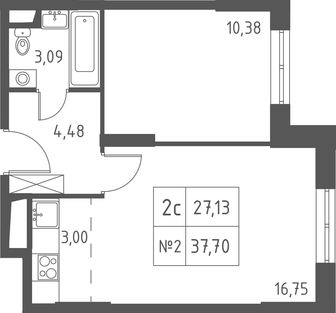 2-к.кв (евро), 37.7 м²