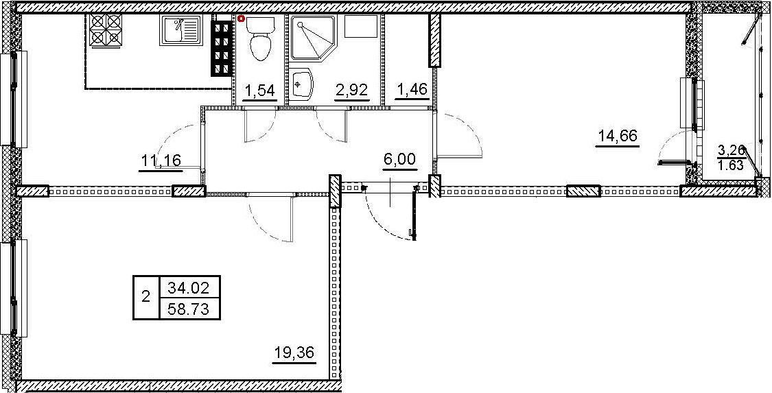 2-комнатная, 58.73 м²– 2
