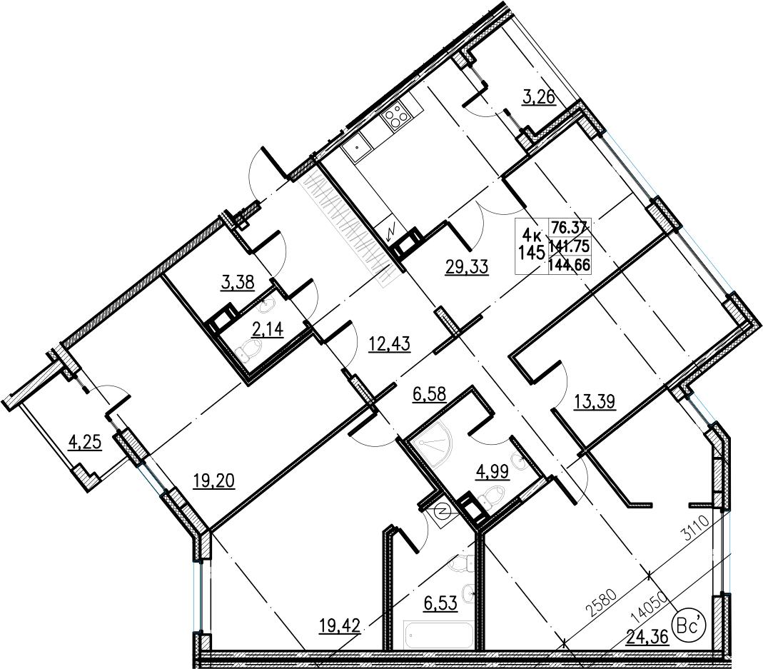 5Е-комнатная, 144.66 м²– 2
