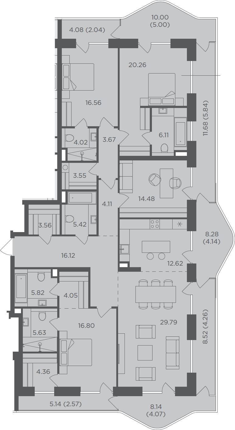 5-комнатная, 204.85 м²– 2