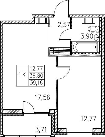 2Е-комнатная, 39.16 м²– 2
