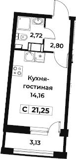 Студия, 21.25 м²