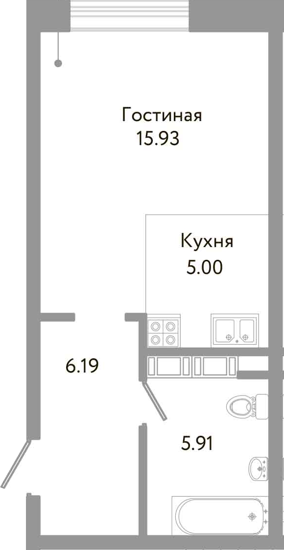 Студия, 33.03 м²