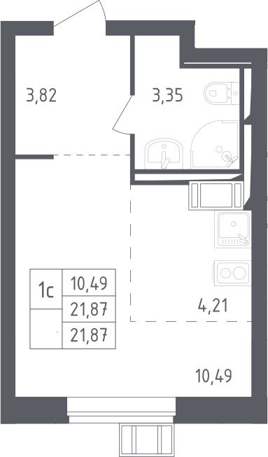 Студия, 21.87 м², 17 этаж