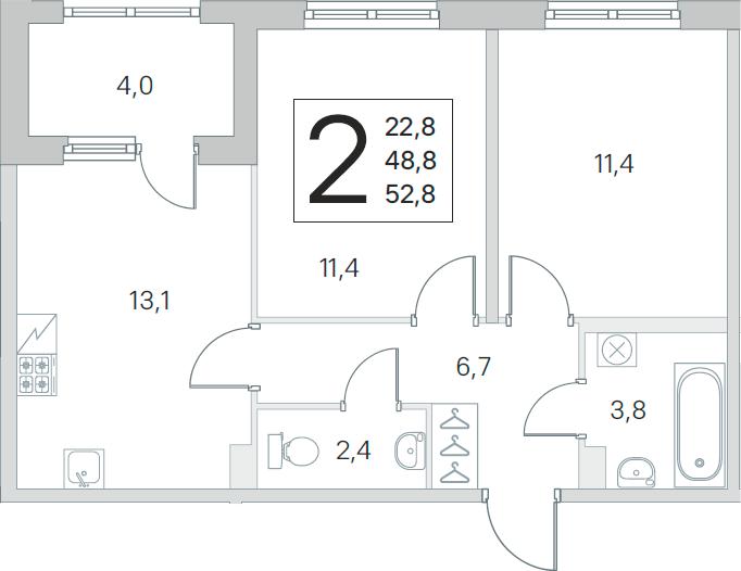 3Е-к.кв, 48.8 м², 1 этаж