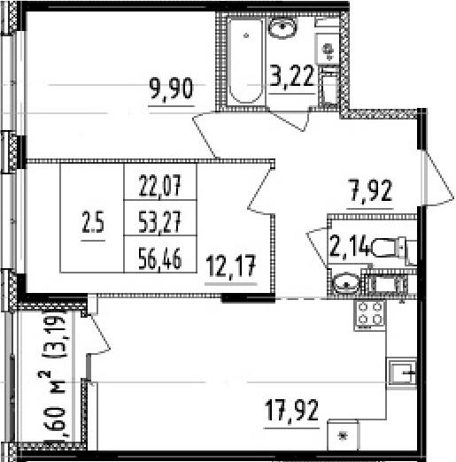 3Е-комнатная, 53.27 м²– 2
