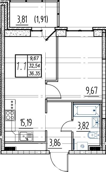 2Е-к.кв, 32.54 м², 16 этаж