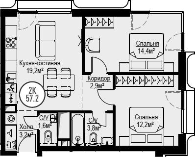 3Е-комнатная, 57.2 м²– 2