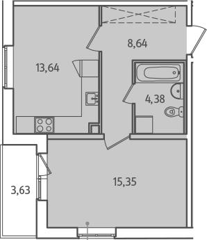 1-комнатная, 43.83 м²– 2