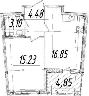 1-к.кв, 42.09 м², от 5 этажа