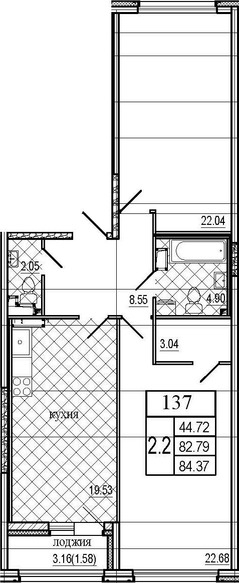 3Е-к.кв, 84.37 м²