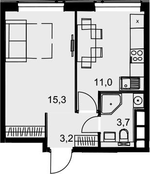 1-к.кв, 33.2 м², 21 этаж