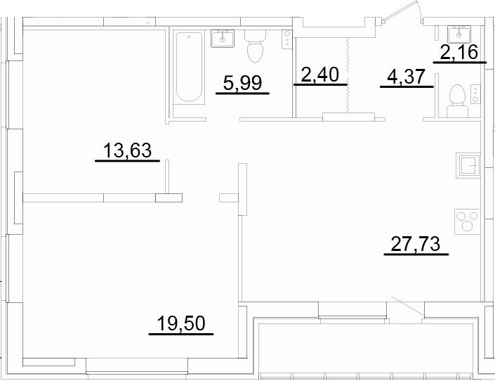 3Е-к.кв, 78.85 м², 2 этаж