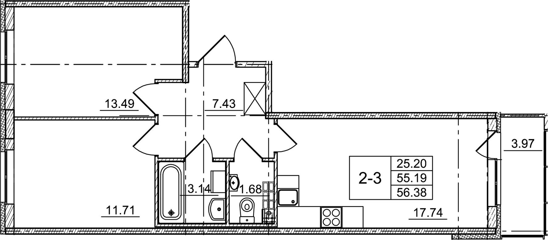 3-к.кв (евро), 59.16 м²