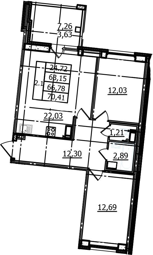 3Е-комнатная, 63.15 м²– 2