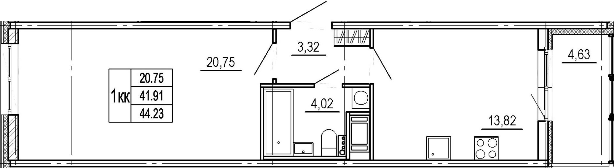 1-к.кв, 41.91 м²