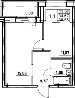 2Е-к.кв, 34.67 м²
