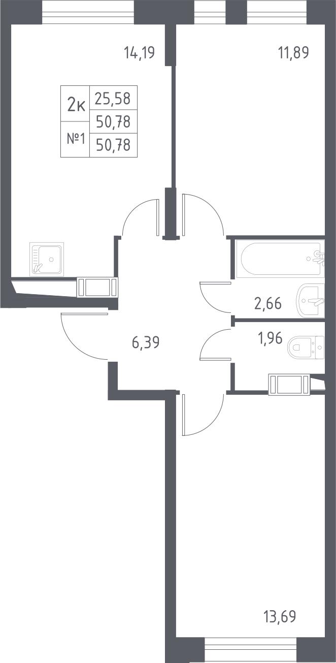 2-к.кв, 50.78 м²