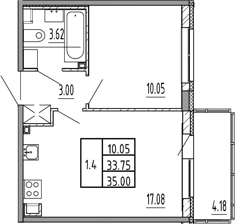 2Е-к.кв, 33.75 м², 3 этаж
