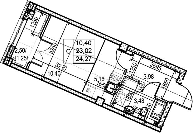Студия, 24.27 м²– 2