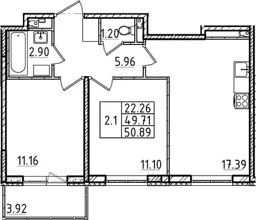 3Е-к.кв, 50.89 м²
